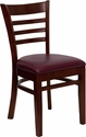 HERCULES Series Ladder Back Mahogany Wood Restaurant Chair - Burgundy Vinyl Seat [XU-DGW0005LAD-MAH-BURV-GG]