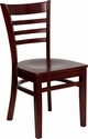 HERCULES Series Mahogany Finished Ladder Back Wooden Restaurant Chair [XU-DGW0005LAD-MAH-GG]
