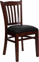 HERCULES Series Mahogany Finished Vertical Slat Back Wooden Restaurant Chair - Black Vinyl Seat [XU-DGW0008VRT-MAH-BLKV-GG]