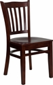 HERCULES Series Mahogany Finished Vertical Slat Back Wooden Restaurant Chair [XU-DGW0008VRT-MAH-GG]