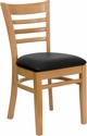 HERCULES Series Ladder Back Natural Wood Restaurant Chair - Black Vinyl Seat [XU-DGW0005LAD-NAT-BLKV-GG]