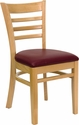 HERCULES Series Natural Wood Finished Ladder Back Wooden Restaurant Chair - Burgundy Vinyl Seat [XU-DGW0005LAD-NAT-BURV-GG]