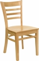 HERCULES Series Natural Wood Finished Ladder Back Wooden Restaurant Chair [XU-DGW0005LAD-NAT-GG]