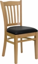 HERCULES Series Natural Wood Finished Vertical Slat Back Wooden Restaurant Chair - Black Vinyl Seat [XU-DGW0008VRT-NAT-BLKV-GG]