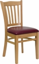 HERCULES Series Natural Wood Finished Vertical Slat Back Wooden Restaurant Chair - Burgundy Vinyl Seat [XU-DGW0008VRT-NAT-BURV-GG]