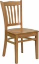 HERCULES Series Natural Wood Finished Vertical Slat Back Wooden Restaurant Chair [XU-DGW0008VRT-NAT-GG]