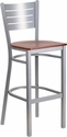 HERCULES Series Silver Slat Back Metal Restaurant Barstool - Cherry Wood Seat [XU-DG-60402-BAR-CHYW-GG]