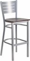 HERCULES Series Silver Slat Back Metal Restaurant Barstool - Walnut Wood Seat [XU-DG-60402-BAR-WALW-GG]