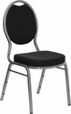 HERCULES Series Teardrop Back Stacking Banquet Chair in Black Patterned Fabric - Silver Vein Frame [FD-C04-SILVERVEIN-S076-GG]