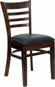 HERCULES Series Walnut Finished Ladder Back Wooden Restaurant Chair - Black Vinyl Seat [XU-DGW0005LAD-WAL-BLKV-GG]