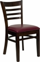 HERCULES Series Walnut Finished Ladder Back Wooden Restaurant Chair - Burgundy Vinyl Seat [XU-DGW0005LAD-WAL-BURV-GG]