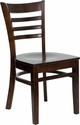 HERCULES Series Walnut Finished Ladder Back Wooden Restaurant Chair [XU-DGW0005LAD-WAL-GG]