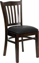 HERCULES Series Walnut Finished Vertical Slat Back Wooden Restaurant Chair - Black Vinyl Seat [XU-DGW0008VRT-WAL-BLKV-GG]