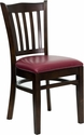 HERCULES Series Walnut Finished Vertical Slat Back Wooden Restaurant Chair - Burgundy Vinyl Seat [XU-DGW0008VRT-WAL-BURV-GG]
