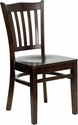 HERCULES Series Walnut Finished Vertical Slat Back Wooden Restaurant Chair [XU-DGW0008VRT-WAL-GG]