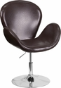 HERCULES Trestron Series Brown Leather Reception Chair with Adjustable Height Seat [CH-112420-BRN-GG]