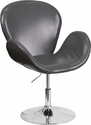 HERCULES Trestron Series Gray Leather Reception Chair with Adjustable Height Seat [CH-112420-GY-GG]