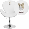 Embroidered HERCULES Trestron Series White Leather Side Reception Chair with Adjustable Height Seat [CH-112420-WH-EMB-GG]