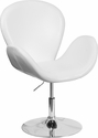 HERCULES Trestron Series White Leather Reception Chair with Adjustable Height Seat [CH-112420-WH-GG]