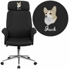 Embroidered High Back Black Fabric Executive Swivel Chair with Chrome Base and Fully Upholstered Arms [CH-CX0944H-BK-EMB-GG]