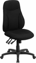 High Back Black Fabric Multi-Functional Ergonomic Swivel Task Chair [BT-90297H-GG]