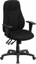 High Back Black Fabric Multi-Functional Ergonomic Swivel Task Chair with Height Adjustable Arms [BT-90297H-A-GG]