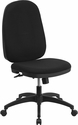 High Back Black Fabric Multi-Functional Swivel Task Chair with Back Angle Adjustment [WR-609G-GG]