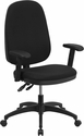 High Back Black Fabric Multi-Functional Swivel Task Chair with Height Adjustable Arms [WR79-A-GG]