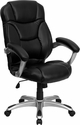 High Back Black Leather Contemporary Executive Swivel Office Chair [GO-725-BK-LEA-GG]