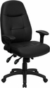 High Back Black Leather Executive Swivel Office Chair [BT-2350-BK-GG]