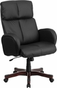 High Back Black Leather Executive Swivel Office Chair with Fully Upholstered Arms [BT-9028H-1-GG]