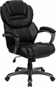 High Back Black Leather Executive Swivel Office Chair with Leather Padded Loop Arms [GO-901-BK-GG]
