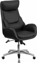 High Back Black Leather Executive Swivel Office Chair with Lumbar Pillow [BT-90027OH-GG]