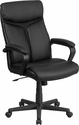 High Back Black Leather Executive Swivel Chair with Arms [GO-2196-1-GG]