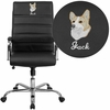 Embroidered High Back Black Leather Executive Swivel Chair with Chrome Base and Arms [GO-2286H-BK-EMB-GG]