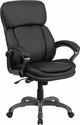 High Back Black Leather Executive Swivel Office Chair with Lumbar Support Knob [BT-90272H-GG]