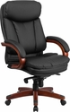 High Back Black Leather Executive Swivel Office Chair with Synchro-Tilt Mechanism and Mahogany Wood Base [BT-90171H-S-GG]
