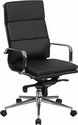 High Back Black Leather Executive Swivel Office Chair with Synchro-Tilt Mechanism [BT-9895H-6-BK-GG]