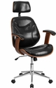 High Back Black Leather Executive Wood Swivel Office Chair [SD-SDM-2235-5-BK-HR-GG]