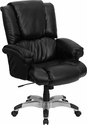 High Back Black Leather OverStuffed Executive Swivel Office Chair [GO-958-BK-GG]
