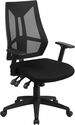 High Back Black Mesh Multifunction Swivel Task Chair with Adjustable Arms [HL-0017-GG]
