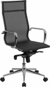 High Transparent Back Black Mesh Executive Swivel Chair with Synchro-Tilt Mechanism and Arms [BT-2768H-GG]