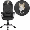 Embroidered High Back Black Vinyl Executive Swivel Chair with Arms [CH-CX0906H-BK-EMB-GG]