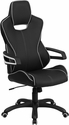 High Back Black Vinyl Executive Swivel Office Chair with White Trim [CH-CX0699H01-GG]