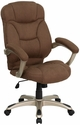 High Back Brown Microfiber Contemporary Executive Swivel Office Chair [GO-725-BN-GG]