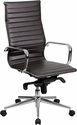 High Back Brown Ribbed Upholstered Leather Executive Swivel Office Chair [BT-9826H-BRN-GG]
