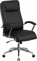 High Back Designer Black Leather Executive Swivel Chair with Chrome Base and Arms [GO-2192-BK-GG]