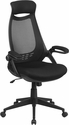 High Back Black Mesh Executive Swivel Chair with Flip-Up Arms [HL-0018-GG]