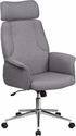 High Back Gray Fabric Executive Swivel Office Chair with Chrome Base [CH-CX0944H-GY-GG]