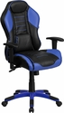 High Back Monterey Blue Vinyl Executive Swivel Office Chair with Inner-Coil Spring Comfort Seat and Blue Base [CP-B329A02-BL-GG]